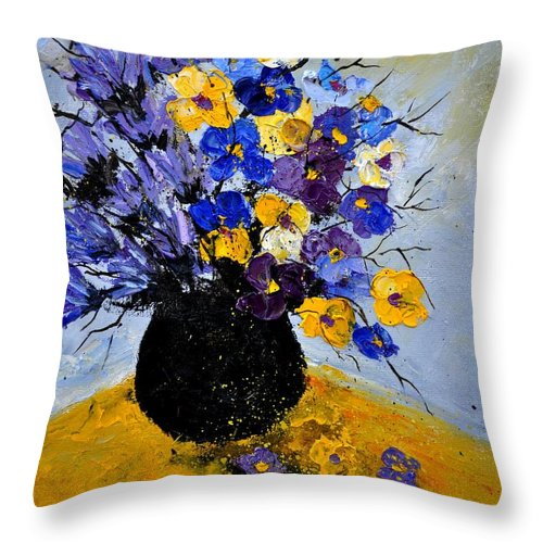 Flowers Throw Pillow featuring the painting Bunch 451111 by Pol Ledent