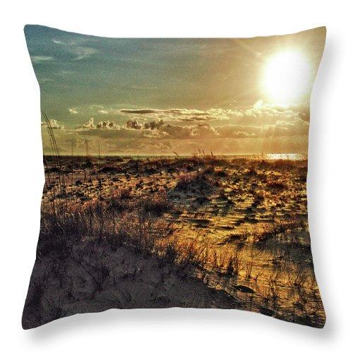 Alabama Photographer Throw Pillow featuring the digital art Burnt Orange Sunrise by Michael Thomas