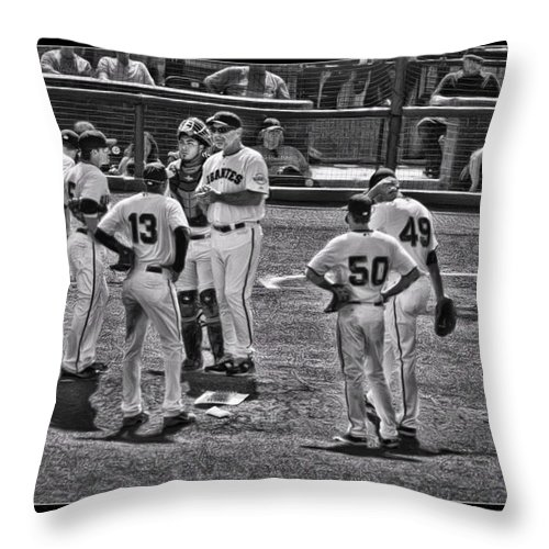 Buster Posey Throw Pillow featuring the photograph Buster Posey Ryan Theriot Joaquin Arias Hector Sanchez Bruce Bochy Javier Lopez Conor Gillaspie  by Blake Richards