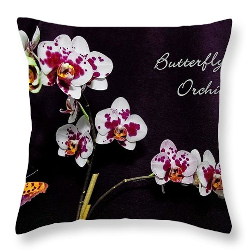 Orchid Throw Pillow featuring the photograph Butterfly Orchid by DigiArt Diaries by Vicky B Fuller