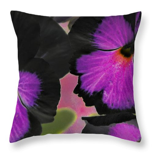 Butterfly Throw Pillow featuring the mixed media Butterfly Pansies by Maria Urso