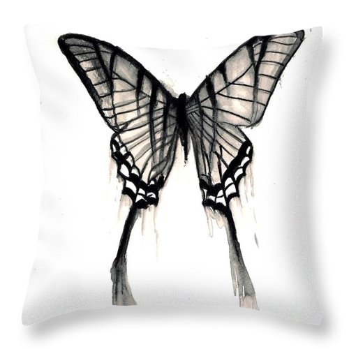 Butteryfly Tears Throw Pillow featuring the painting Butterfly Tears 2 by Michael Grubb