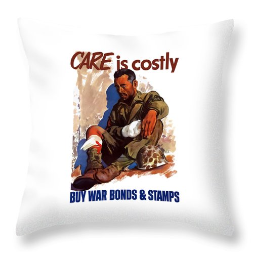 War Bonds Throw Pillow featuring the painting Buy War Bonds And Stamps by War Is Hell Store