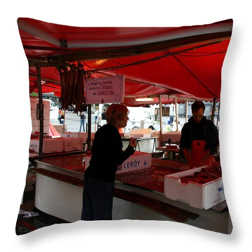 Salmon Throw Pillow featuring the photograph Buying Salmon In Bergen by Nina Fosdick
