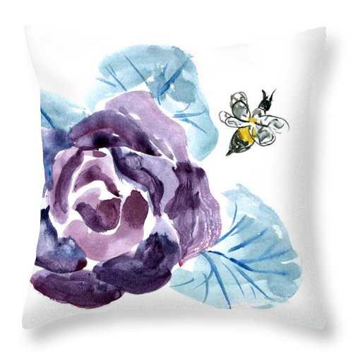 Body-spirit Throw Pillow featuring the painting Buzzzzzing by Ellen Miffitt