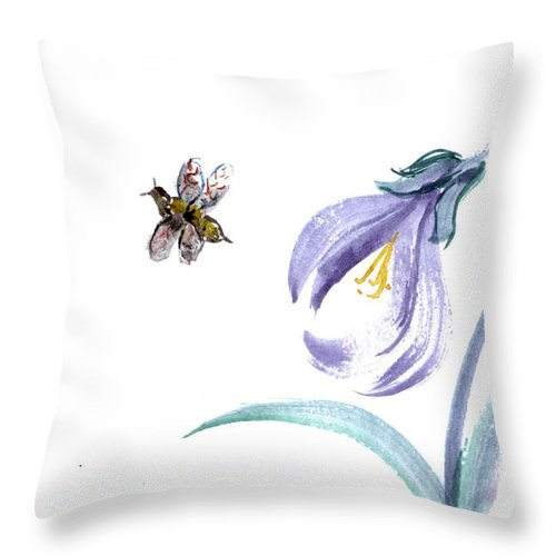 Body-spirit Throw Pillow featuring the painting Buzzzzzzz by Ellen Miffitt