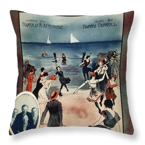 1914 Throw Pillow featuring the photograph By The Beautiful Sea, 1914 by Granger