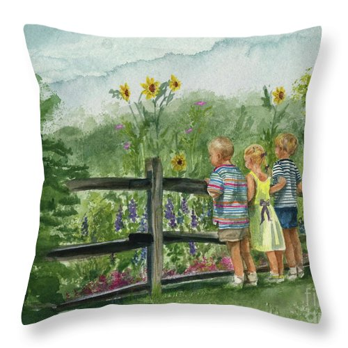 Children Throw Pillow featuring the painting By The Garden Fence by Nancy Patterson