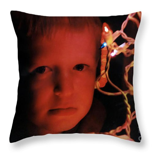People Throw Pillow featuring the photograph By The Glow Of Christmas Lights by Susan Stevenson