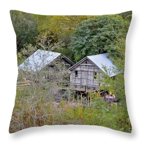 Cabins Throw Pillow featuring the photograph Cabins by Carol Bradley