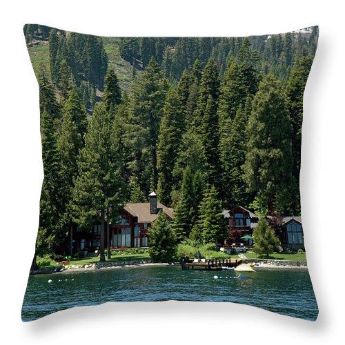 Usa Throw Pillow featuring the photograph Cabins On The Lake Tahoe by LeeAnn McLaneGoetz McLaneGoetzStudioLLCcom