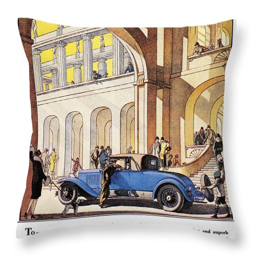1927 Throw Pillow featuring the photograph Cadillac Ad, 1927 by Granger