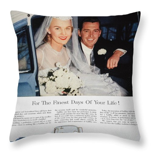 1955 Throw Pillow featuring the photograph Cadillac Ad, 1955 by Granger