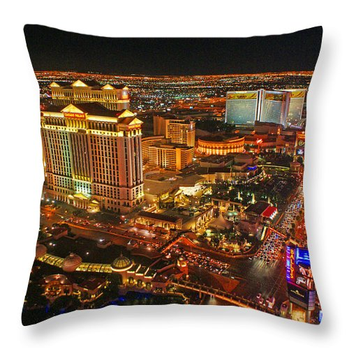 Las Vegas Throw Pillow featuring the photograph Caesars Palace On The Strip by Randy Harris