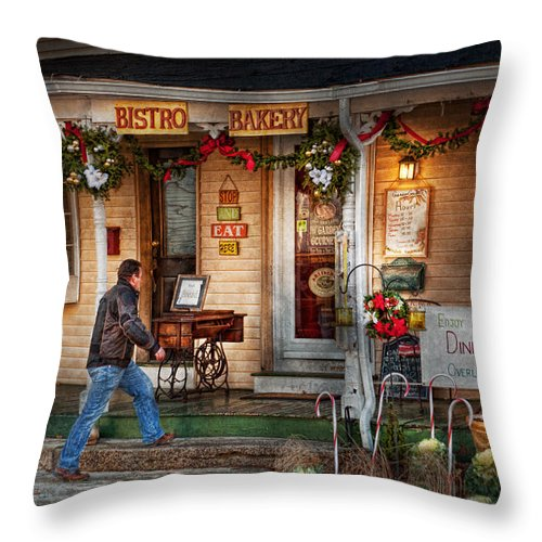 Clinton Throw Pillow featuring the photograph Cafe - Clinton Nj - Bistro Bakery by Mike Savad