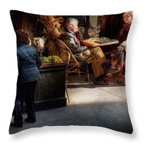 Dog Throw Pillow featuring the photograph Cafe - Ny - High Line - Waiter I Would Like To Order by Mike Savad