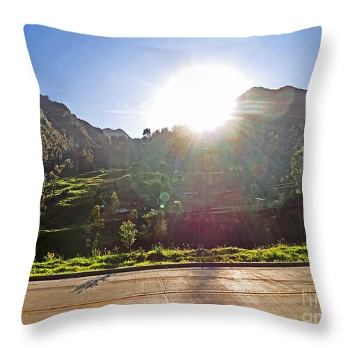 Al Bourassa Throw Pillow featuring the photograph Cajas Mountains Sunset Ecuador by Al Bourassa
