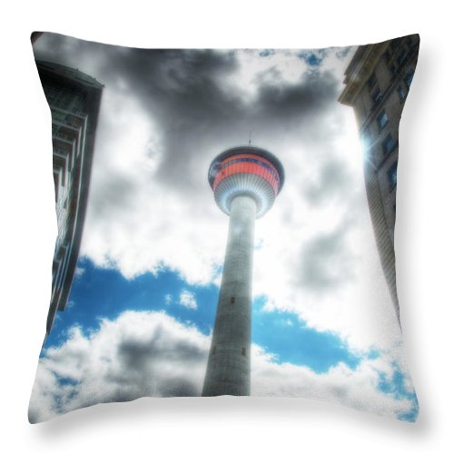 Hdr Throw Pillow featuring the photograph Calgary Tower Hdr by Lisa Knechtel