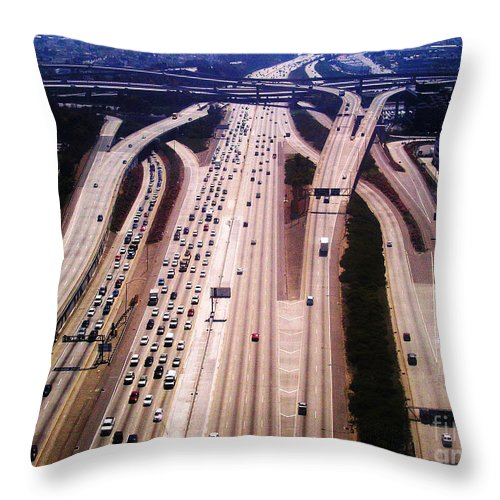 Aerial Throw Pillow featuring the photograph Cali Traffic by Anthony Wilkening