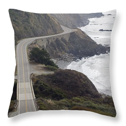 Elevated Views Throw Pillow featuring the photograph California Highway 1 Or Pacific Coast by Rich Reid