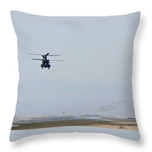 Helicopter Throw Pillow featuring the photograph Call Of Duty by Pamela Patch