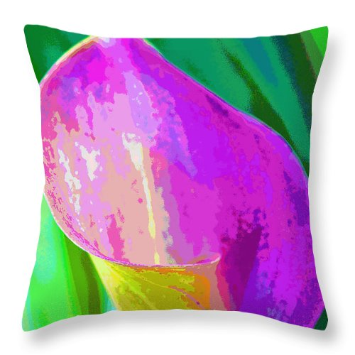 Cally Lily Closeup Throw Pillow featuring the photograph Calla Lily Art by Regina Geoghan