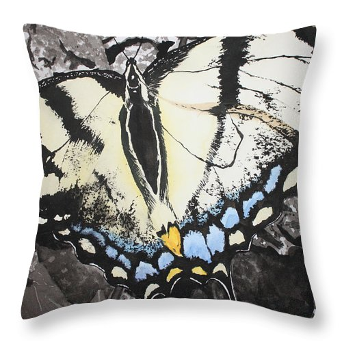 Butterfly Throw Pillow featuring the painting Callaway Tiger Swallowtail Butterfly by Beth Parrish