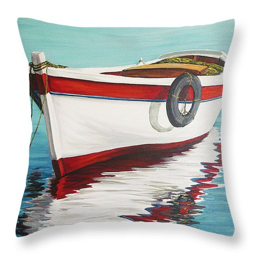Seascape Throw Pillow featuring the painting Calm Sea by Natalia Tejera