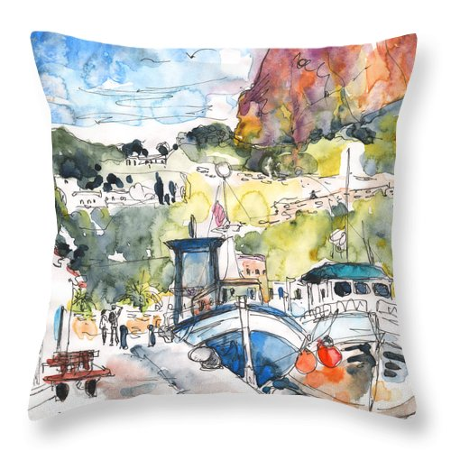 Travel Throw Pillow featuring the painting Calpe Harbour 05 by Miki De Goodaboom