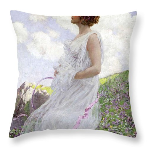 Female Throw Pillow featuring the painting Calypso by George Hitchcock