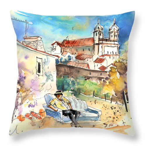 Portugal Throw Pillow featuring the painting Campo Maior In Portugal 03 by Miki De Goodaboom