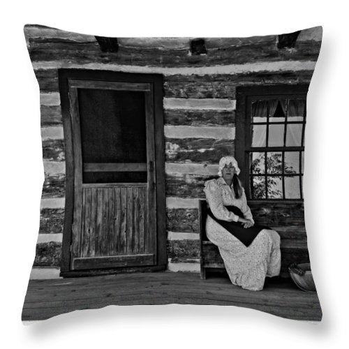 Grey Roots Museum & Archives Throw Pillow featuring the photograph Canadian Gothic Monochrome by Steve Harrington