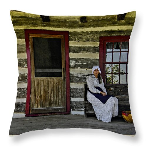 Grey Roots Museum & Archives Throw Pillow featuring the photograph Canadian Gothic by Steve Harrington