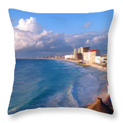 Blue Throw Pillow featuring the photograph Cancun Waters by Sandy Poore