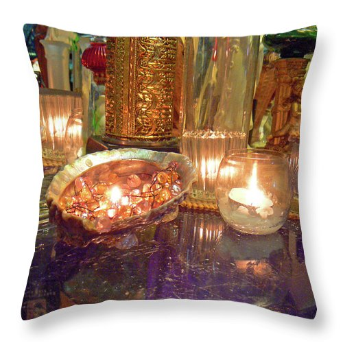 Candle Throw Pillow featuring the photograph Candle Light Reflections by Pamela Patch