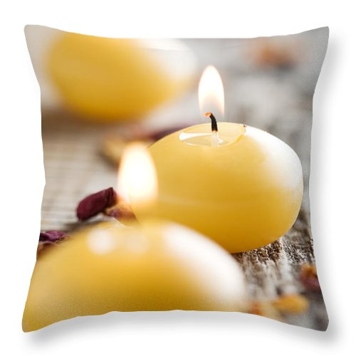 Alternative Throw Pillow featuring the photograph Candles by Kati Finell