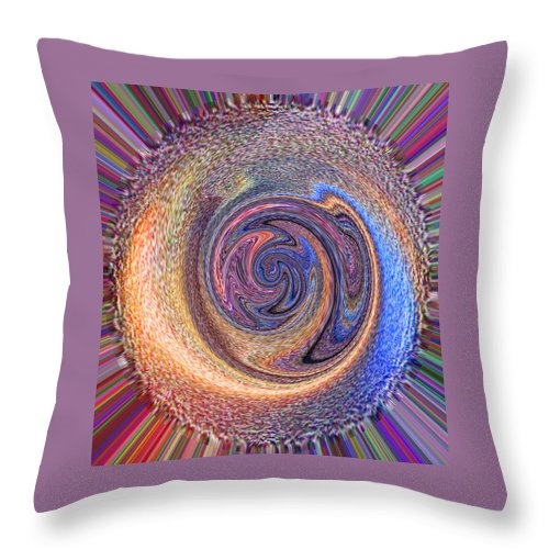 Pink Throw Pillow featuring the painting Candy Stripe Planet by Richard James Digance
