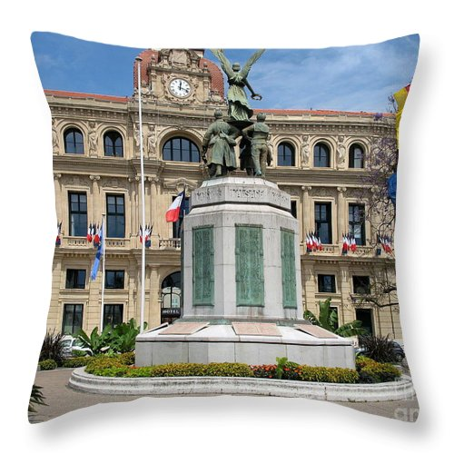 Cannes Throw Pillow featuring the photograph Cannes City Hall by Christiane Schulze Art And Photography