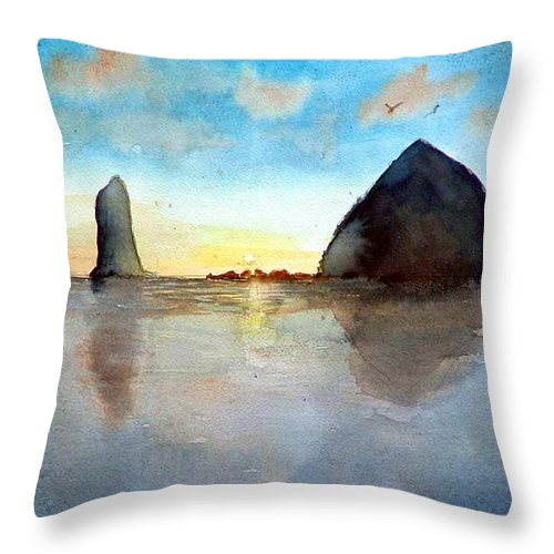 Watercolor Throw Pillow featuring the painting Cannon Beach Sunset by Chriss Pagani