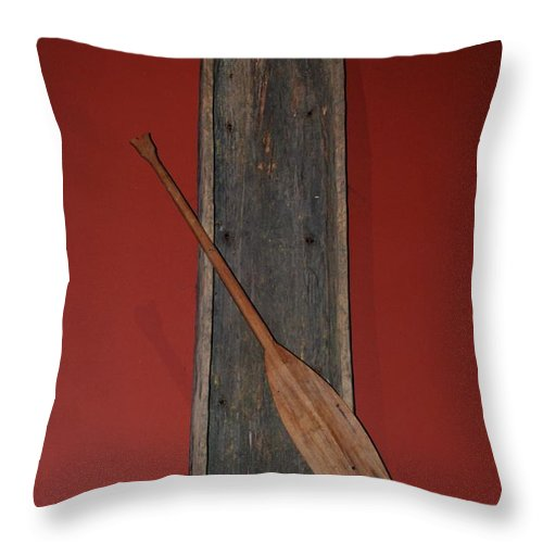 Animal Throw Pillow featuring the photograph Canoe And Oar by Rob Hans