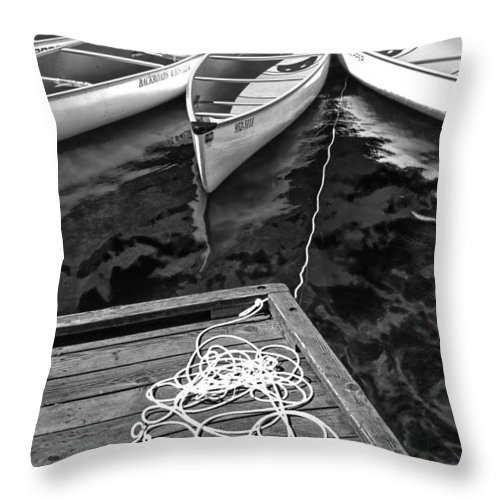 Art Throw Pillow featuring the photograph Canoes Docked At Lost Lake by Randall Nyhof