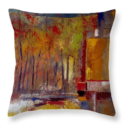 abstract Landscape Throw Pillow featuring the painting Can't See The Forest For The Trees by Ruth Palmer