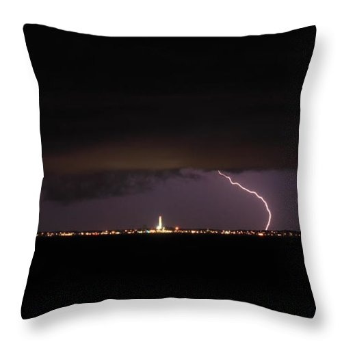 Thunderstorm Throw Pillow featuring the photograph Cape Cod Bay Thunderstorm Over Provincetown by John Burk