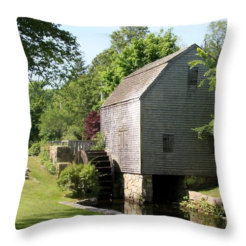Cape Code Throw Pillow featuring the photograph Cape Cod Water Mill by Christiane Schulze Art And Photography