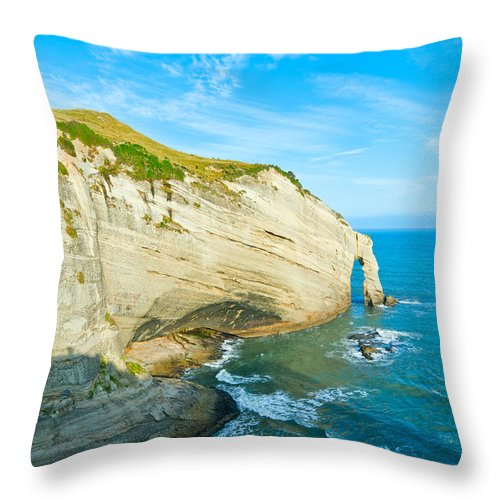 Background Throw Pillow featuring the photograph Cape Farewell Able Tasman National Park by U Schade