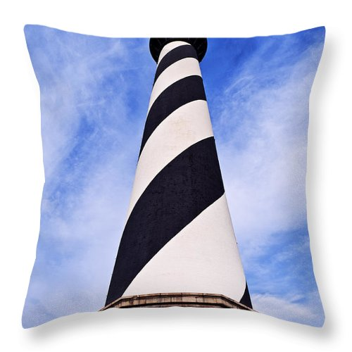 Cape Hatteras Lighthouse Throw Pillow featuring the photograph Cape Hatteras Lighthouse by John Greim