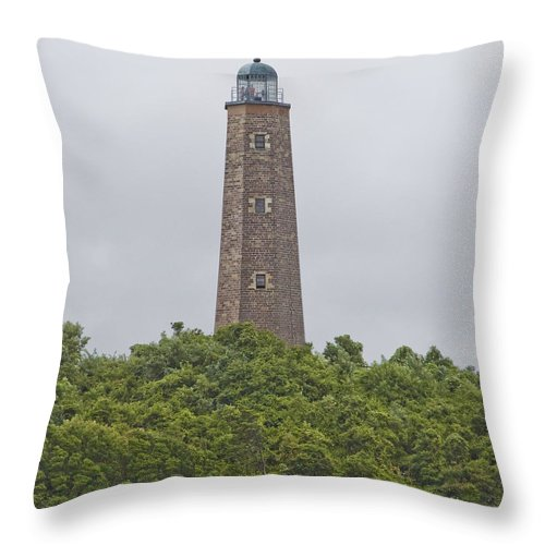 Lighthouse Throw Pillow featuring the photograph Cape Henry Light - Old by Tim Mulina