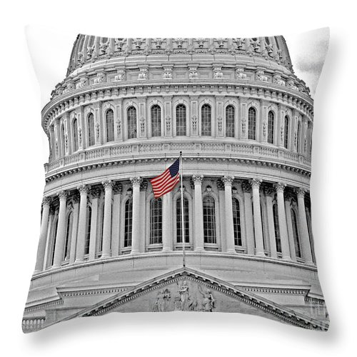 Washington Dc Throw Pillow featuring the photograph Capitol With Flag by Jack Schultz