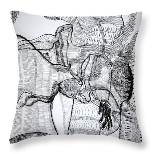 Jesus Throw Pillow featuring the drawing Capoeira by Gloria Ssali