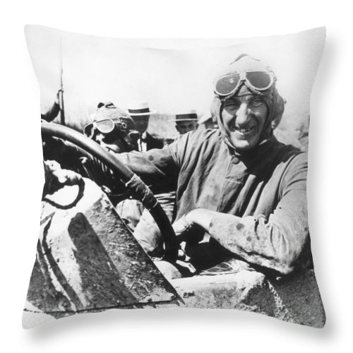 1920 Throw Pillow featuring the photograph Car Race, 1920 by Granger